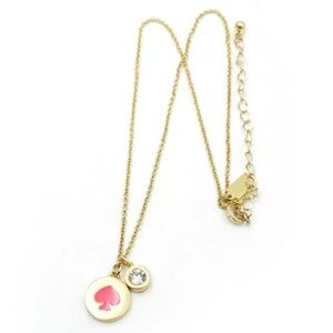 """Kate Spade """"Spot the Spade"""" Hot Pink/Gold Necklace"""